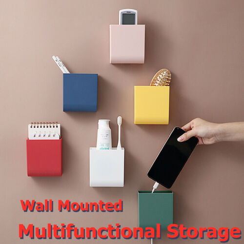 Wall Mounted Remote Control Storage Case Box Dest Mobile Phone Plug Stand Holder