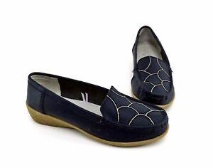 Slipper-Topway-Halbschuhe-Mokassin-Ballerinas-Echtleder-blau-Gr-37
