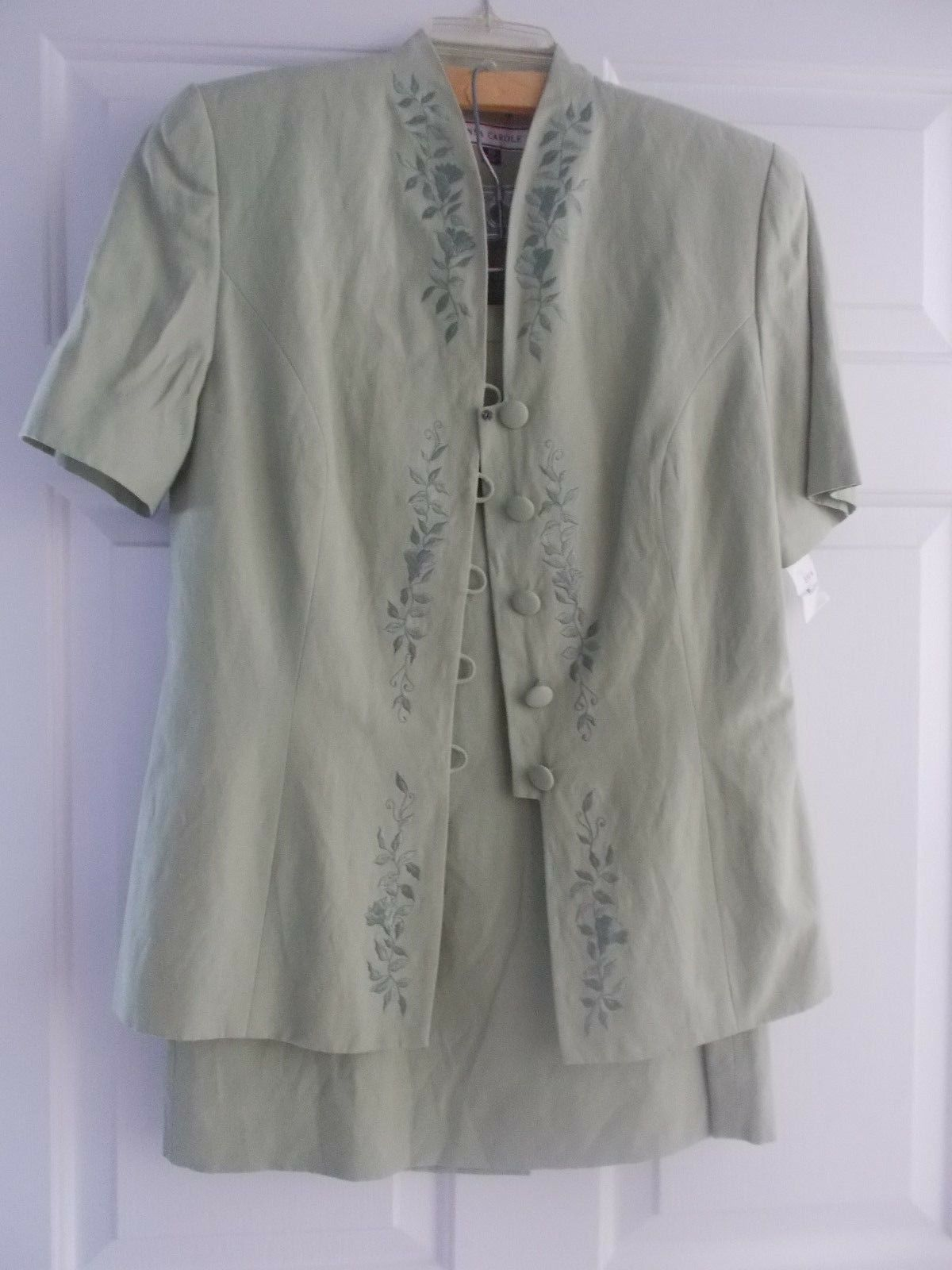 NWT  Anna Carole Womens Skirt Suit 10 Silk Green Lined 2 Pc Knee Career Church