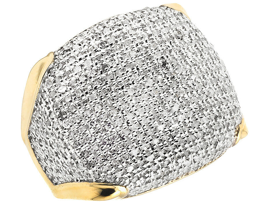 Men's 10K Yellow gold Pave Iced Real Diamond Puff Pinky Engagement Ring 1.50 CT