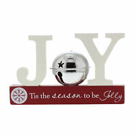 Christmas JOY  Silver Bell Mantel Shelf Sitter Decoration
