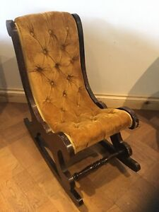 Antique Furniture Search For Flights Child's Slipper Rocking Chair Yellow/ Gold/ Mustard Kids Chesterfield