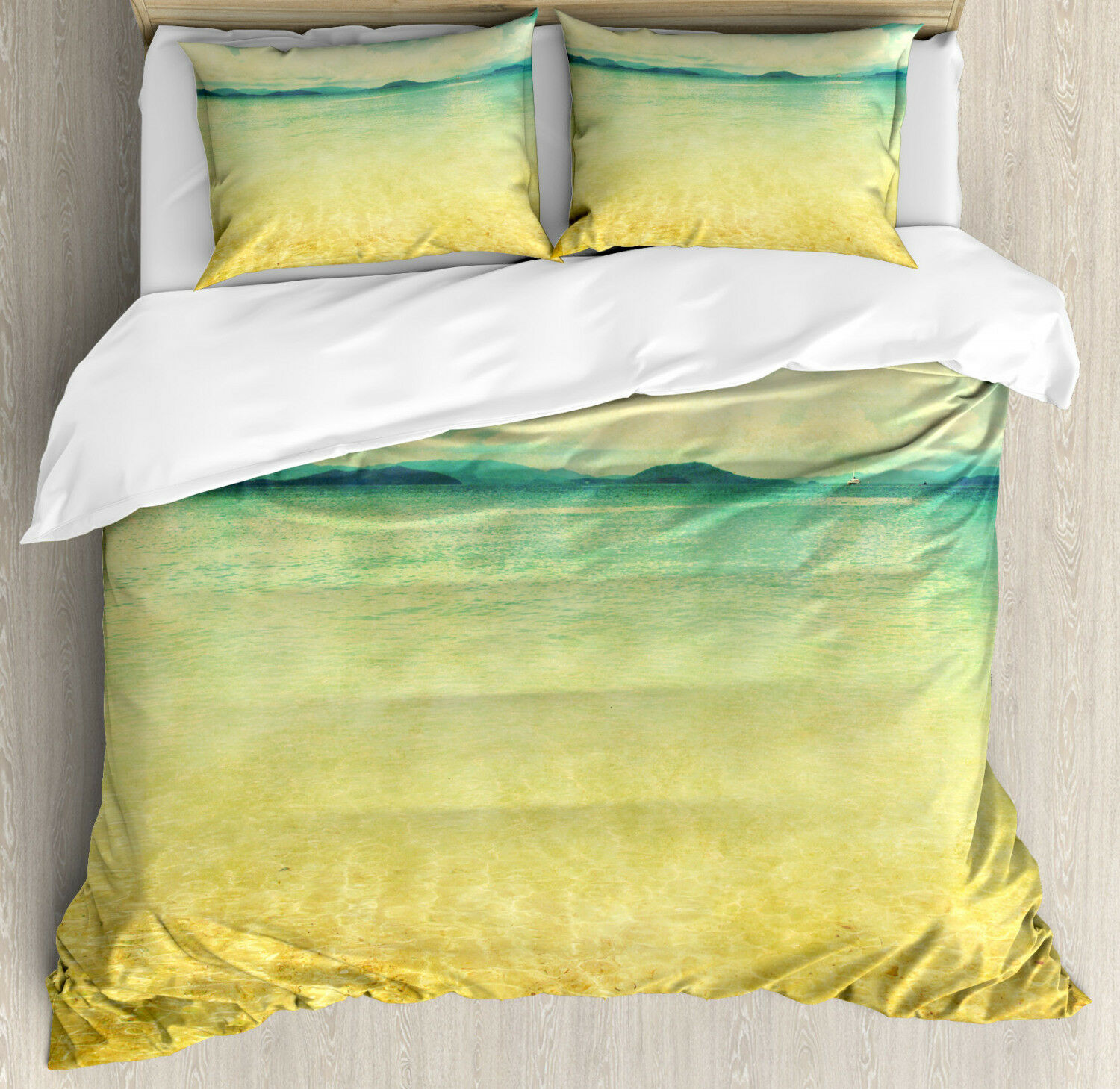 Beach Duvet Cover Set with Pillow Shams Vintage Grunge Sea View Print