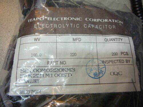 TEAPO SEK Radial Electrolytic Capacitor 220uF 100V 20/%  **NEW**  Qty.5