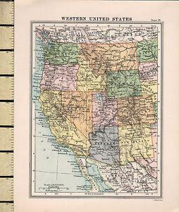 c1860 VICTORIAN MAP ~ WESTERN UNITED STATES ~ OREGON WASHINGTON UTAH ...