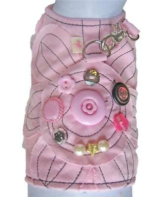 Cha Cha Couture Size Large Pink Daisy Print Dog Pet Harness Vest with Leash