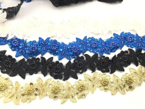 Embroidered Various Colours Bridal Lace Trimming Beaded Wedding Floral Lace