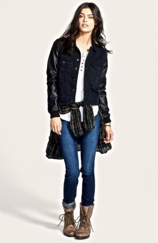 Black People New S Faux Leather Sleeve Jacket Fit Free Denim Relaxed tqqHxwaO5