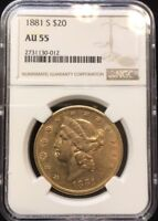 1881-S $20.00 GOLD LIBERTY HEAD NGC AU 55 BETTER DATE