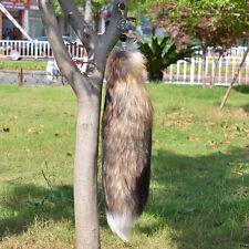 "18"" Large Brown Fox Tail Real Genuine Fox Fur Tail Keychain Fur Tassel Handbag"