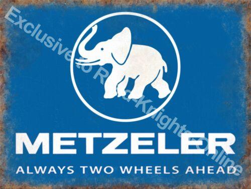 Metzeler Bike cycle tyre Metal//Steel Wall Sign Always two wheels ahead