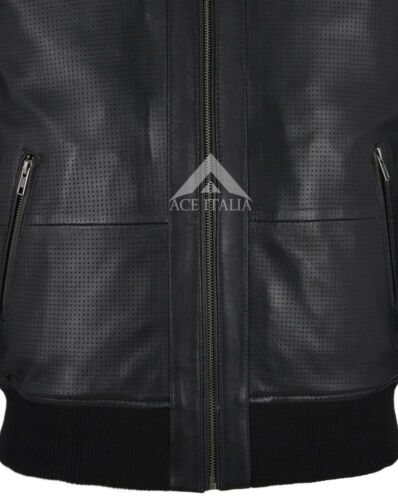 Blue Smith Ultra Handsome Men Perforated Real Leather Bomber Retro  Jacket 4348