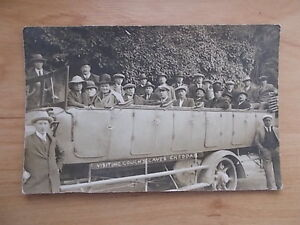 VINTAGE-1909-POSTCARD-CLUB-OUTING-ON-CHARABANC-CHARD-SOMERSET-RP