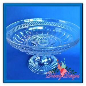 Details about Crystal Hand Cut Glass Pedestal Bowl Antique Vintage Cut  Pressed Glass
