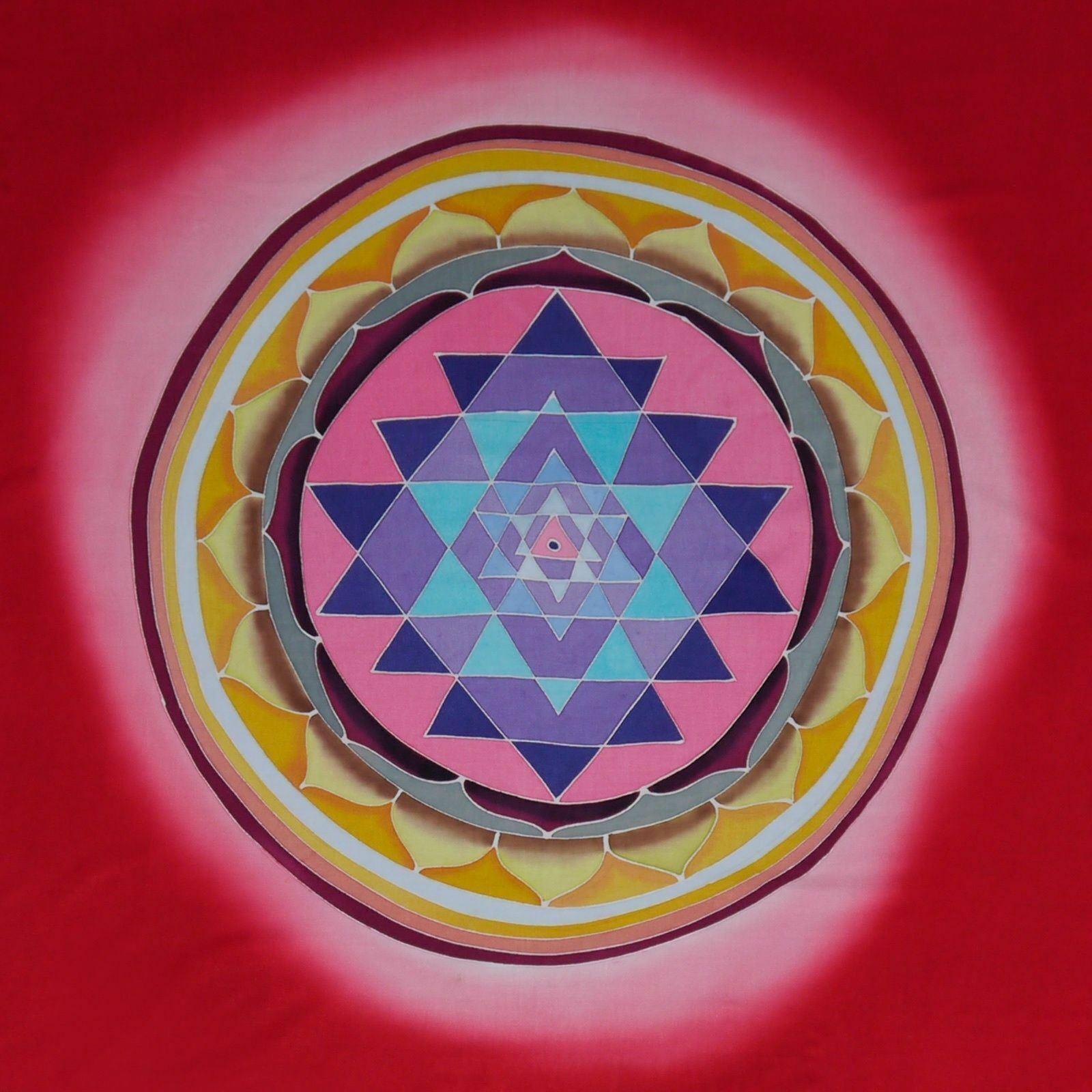 Bali Hand Painted Batik Wall Tapestry Flag Sacrot Geometry Lotus Mandala 45x81