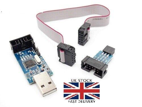 USB ISP USBASP Programmer AVR ATMEL ATMega8 Download Pin IDC Cable 3.3V 5V