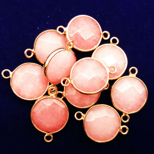 2Pcs Wrapped Faceted Pink Jade Round 25x17x6mm Pendant Bead DW22 Send Random