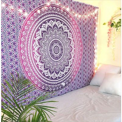 Purple Ombre Bohemian Mandala Tapestry Twin Indian Wall Hanging