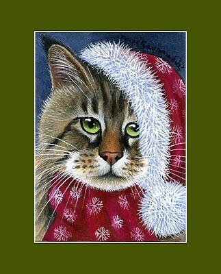 Christmas Ginger Cat ACEO Merry Christmas by Irina Garmashova
