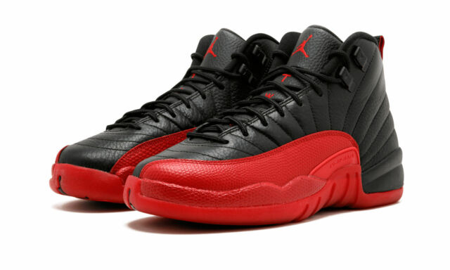 fdee517a2e3ec1 Nike Air Jordan 12 Retro Flu Game Size 3.5-6.5 Black Varsity Red 153265 002