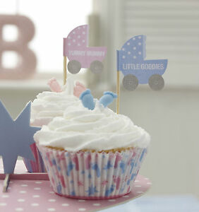 20-CUPCAKE-BUN-FLAG-Table-Decoration-for-Baby-Shower-Christening-etc