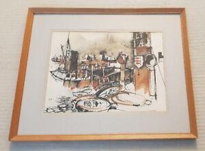 Brian-C-Lancaster-1931-2005-original-signed-mixed-media-painting-Bristol-Savages