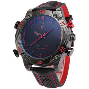 Kitefin-SHARK-LED-Digital-Date-Day-Alarm-Leather-Military-Sport-Mens-Wrist-Watch