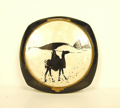 VertrauenswüRdig Kompakt Spiegel Art Déco Orientalistisch Au Dromedar Camel Powder Dose
