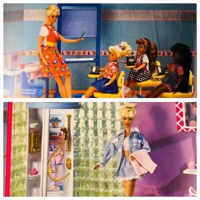 Mattel Vintage 1998 Barbie Classroom & Salle De Bain Play Sets-New ...