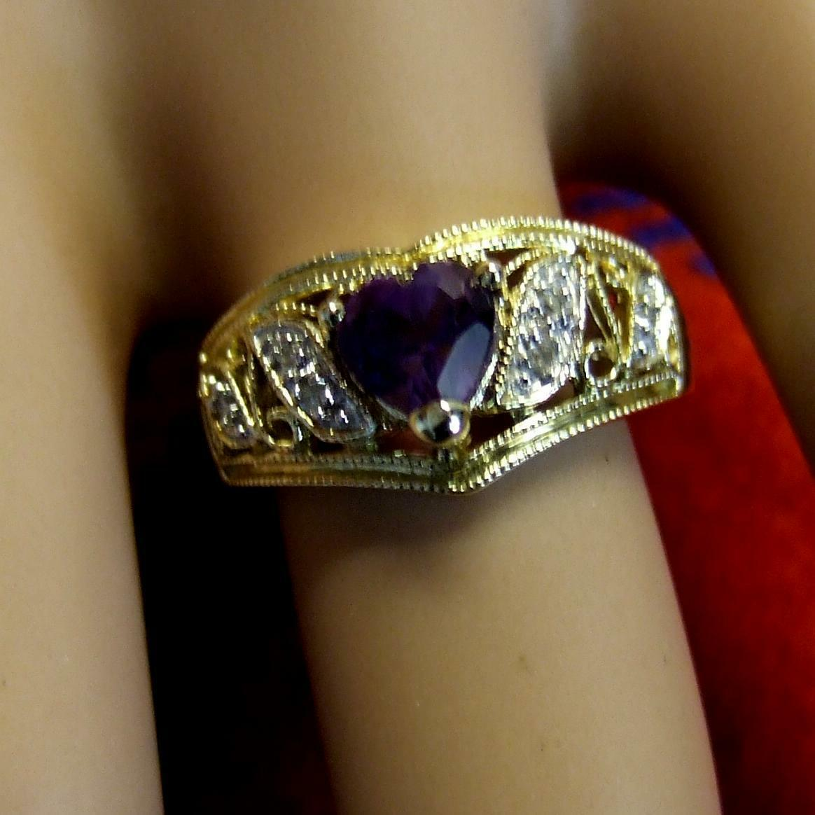 9 ct gold second hand heart amethyst & diamond ring