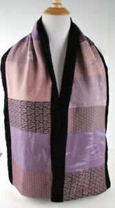 T-Camey-Vintage-Kimono-scarf-100-silk-Chicago-Art-Institute-Black-Lilac-Plum