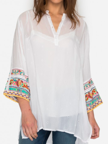 NWT 248 Johnny Was Patchwork EmbroideROT Sleeve Georgette Tunic Top S Weiß