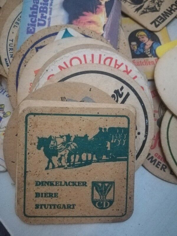 Beer coasters from Europe collected mostly between 1960 -1970