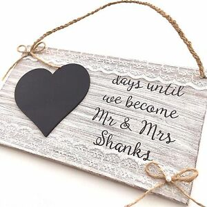 personalised rustic wedding countdown plaque engagement bride to be