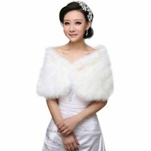 f61fb8592 New Womens White Faux Fur Bridal Wrap Stole Shawl Cape Wedding ...