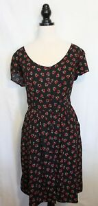 CITY-CHIC-Black-Red-Green-Cherry-Print-Button-Neckline-Rockabilly-Day-Dress-M