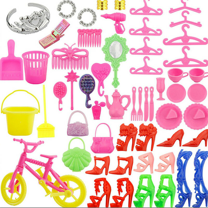 55pcs Clothes Party Gown Outfits For Barbie Dolls Accessories Shoes Bags 2