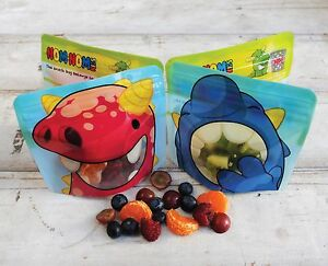 Réutilisable Snack Sacs X 4-Nom Nom Enfants Lavable Snack Sacs, Snack Pot, BPA Free  </span>