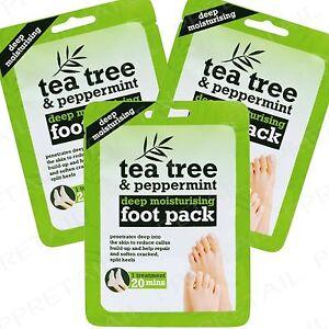 3-x-Tea-Tree-Peppermint-Shea-Butter-Foot-Pack-Moisturising-Sock-Boots-Treatment