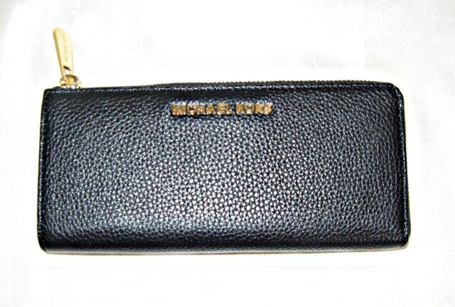 2e69afb597b5 Michael Kors Bedford Leather Large Three Quarter Zip Wallet Black ...