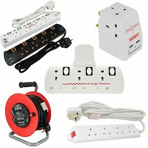 Multi-Plug-Extension-Lead-2-3-4-5-Gang-Way-UK-Mains-Socket-Cable-Reel-Adaptors