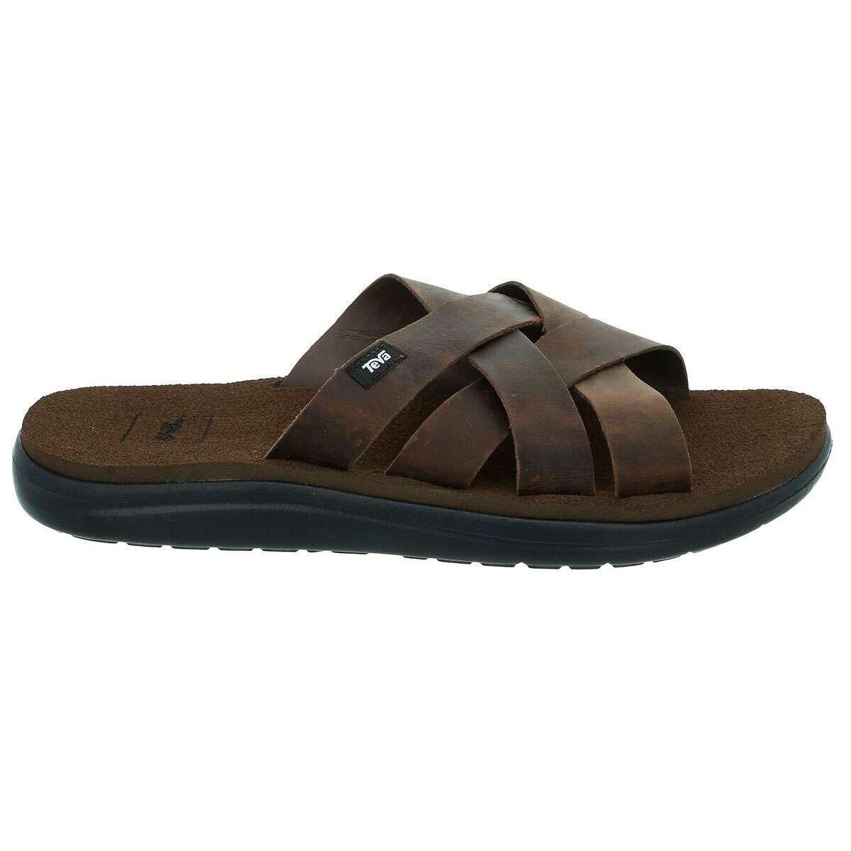 Teva voya slide Leather sandalia es marrón