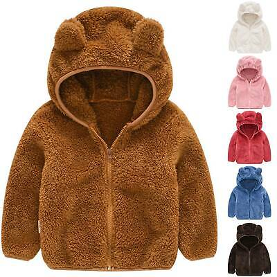 Thatso Toddler Baby Winter Coats Bear Ears Hooded Fleece Warm Outerwear for Boys Girls Zip-up Light Sweatshirt Jacket