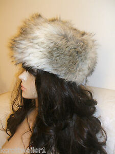 0575a6c2c94 BNWT NEW LOOK CREAM BEIGE TAUPE FAUX FUR DIVA COSSACK RUSSIAN HAT ...