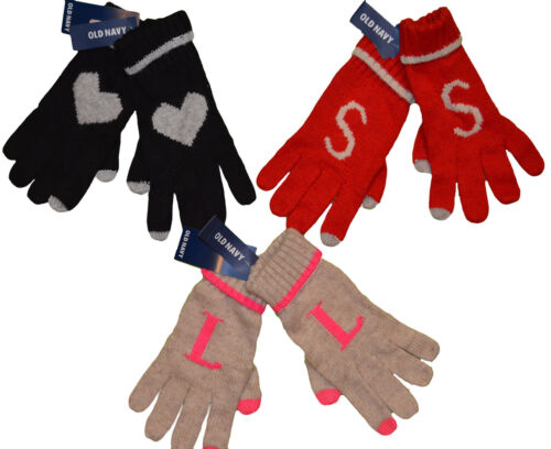 L-XL Women/'s Old Navy Text Friendly Tips Winter Gloves Red Black Oatmeal S-M