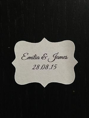 28 X Vintage Bianco Matrimonio Carta Adesivo Con Le Etichette Personalizzate Corsivo- Impermeabile, Resistente Agli Urti E Antimagnetico
