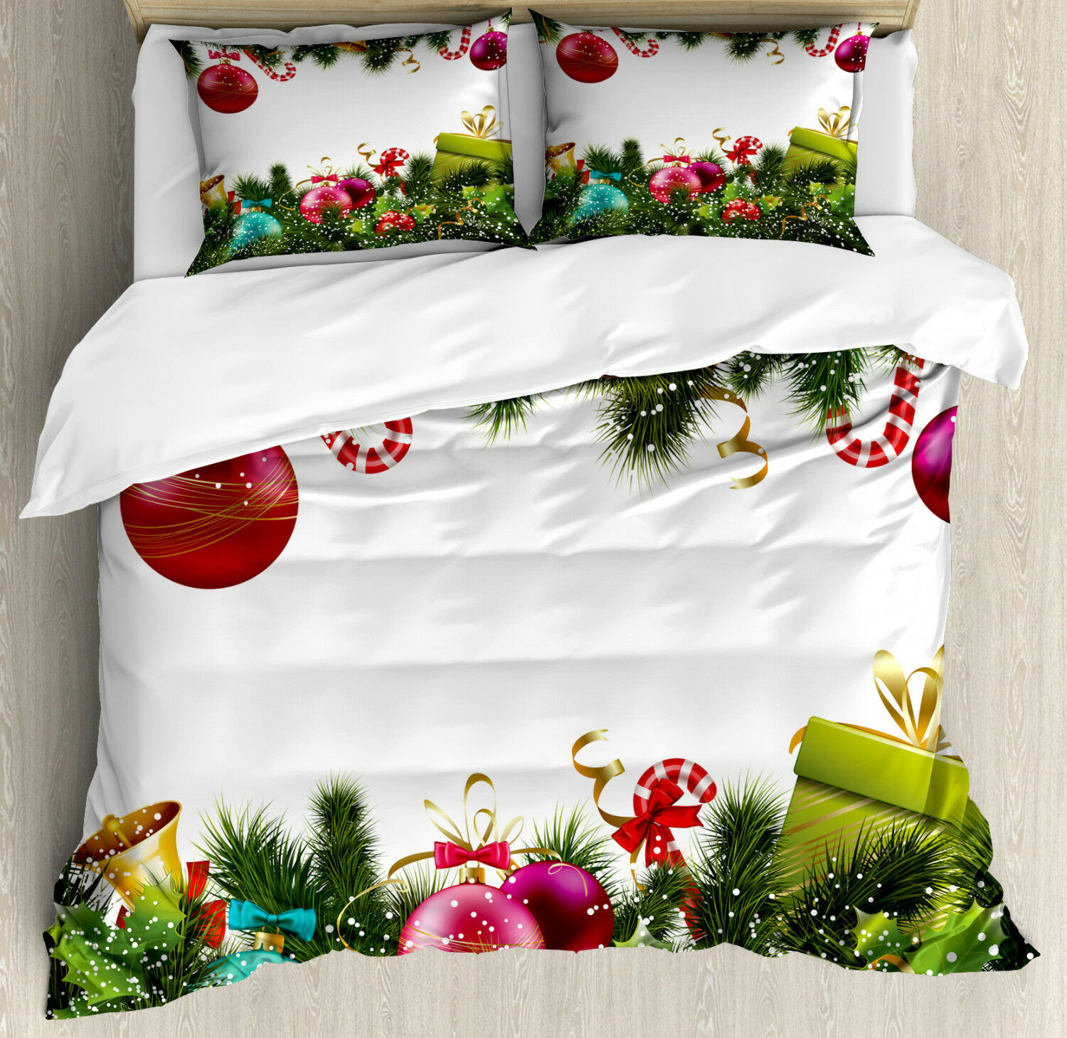 Christmas Duvet Cover Set with Pillow Shams New Year Greeting Print