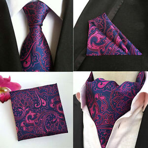 Men-Purple-Pink-Paisley-Floral-Silk-Necktie-Cravat-Ascot-Pocket-Square-Set-Lot