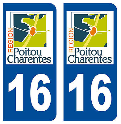 Automobilia Popular Brand 16 Charente Departement Immatriculation 2 X Autocollants Sticker Autos