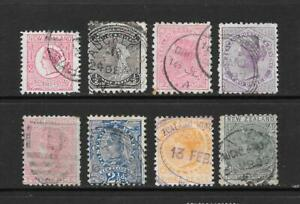 1882-Queen-Victoria-SG151-onwards-Collection-of-8-stamps-fine-used-New-Zealand